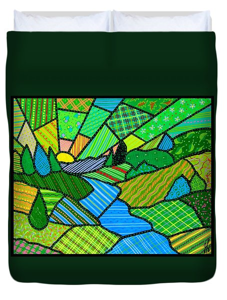 Duvet Cover featuring the painting Green Spring Morning by Jim Harris