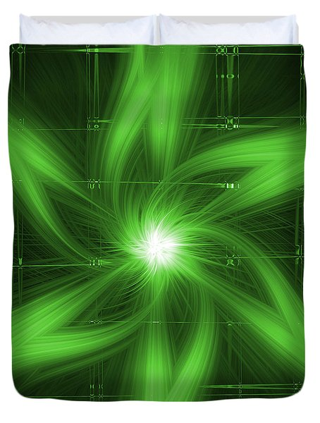 Duvet Cover featuring the digital art Green Swirl by Maggy Marsh