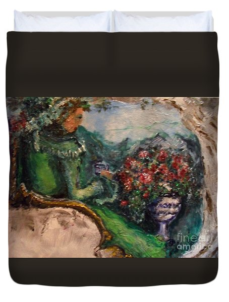 Duvet Cover featuring the painting Green Tea In The Garden by Laurie Lundquist