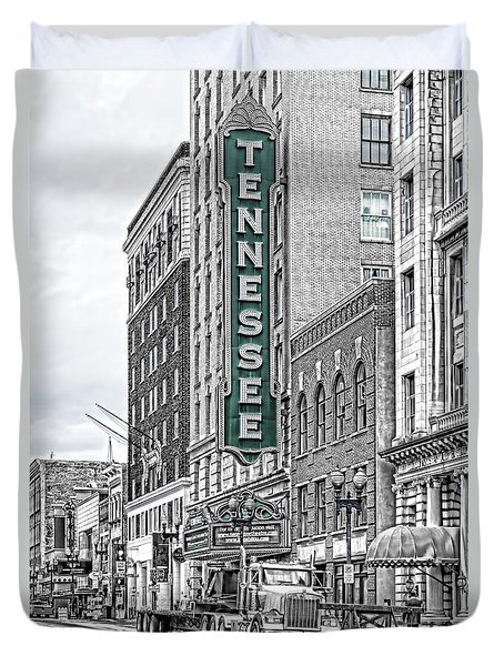 Green Tennessee Theatre Marquee Duvet Cover