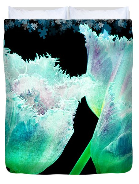 Green Tulip Glow Duvet Cover by Debra  Miller