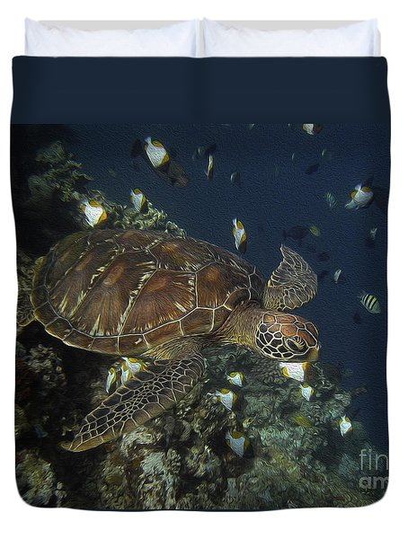Duvet Cover featuring the photograph Hawksbill Turtle by Sergey Lukashin