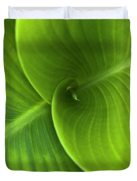 Green Twin Leaves Duvet Cover by Heiko Koehrer-Wagner