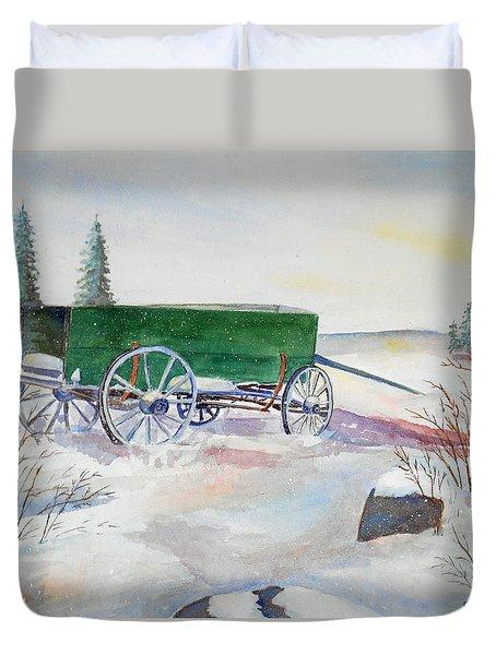 Green Wagon Duvet Cover