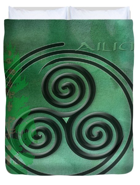 Green Watercolor Ailim Celtic Symbol Duvet Cover by Kandy Hurley