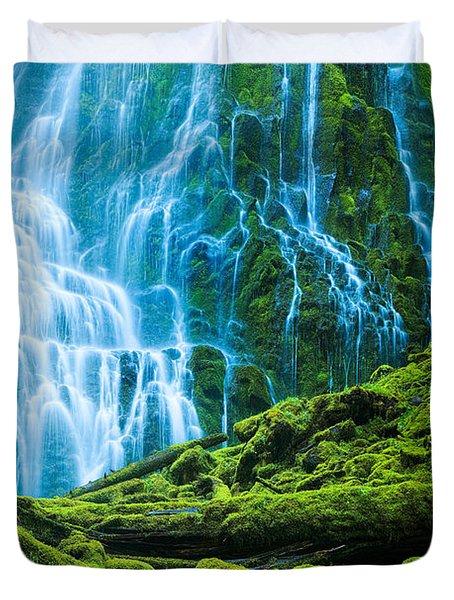 Green Waterfall Duvet Cover