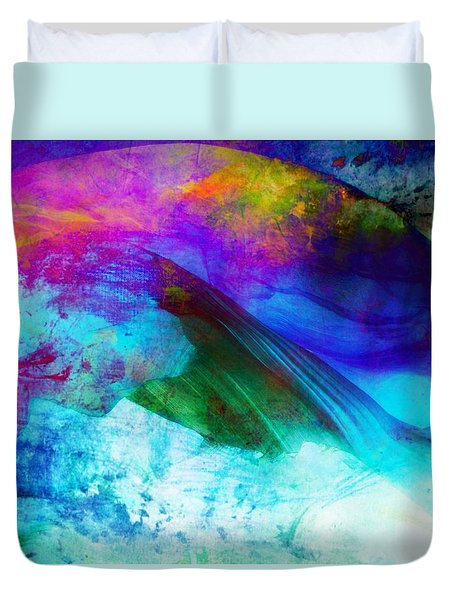 Duvet Cover featuring the painting Green Wave - Vibrant Artwork by Lilia D