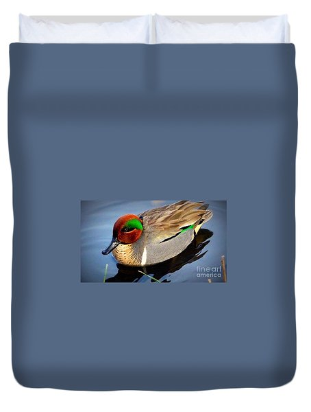 Green Winged Teal  Duck  Duvet Cover