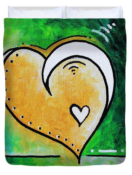 Green Yellow Heart Love Painting Pop Art Peace By Megan Duncanson Duvet Cover by Megan Duncanson