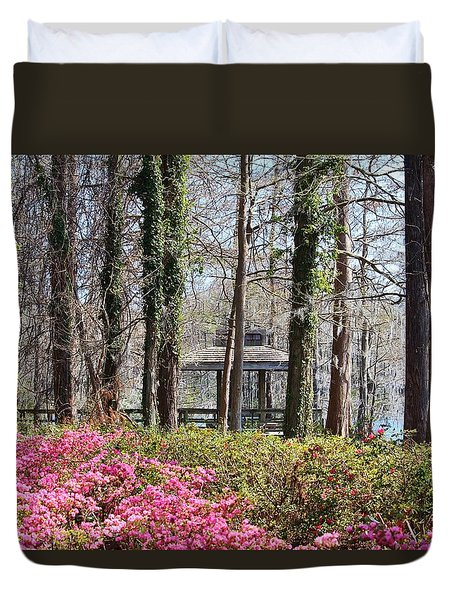 Greenfield Park And Lake Duvet Cover by Cynthia Guinn