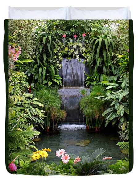 Greenhouse Garden Waterfall Duvet Cover by Carol Groenen