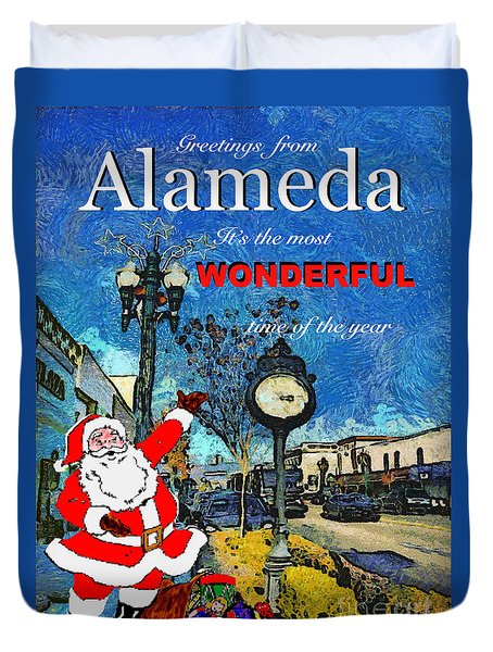 Alameda Christmas Greeting Duvet Cover