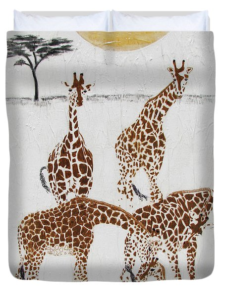 Duvet Cover featuring the painting Greeting The New Arrival by Stephanie Grant