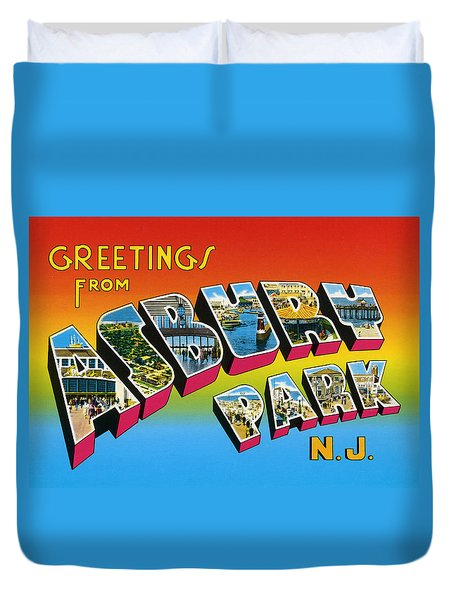 Greetings From Asbury Park Nj Duvet Cover