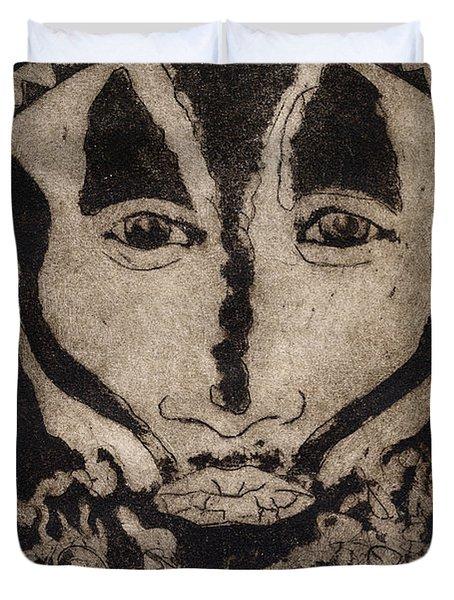 Greetings From New Guinea - Mask - Tribesmen - Tribesman - Tribal - Jefe - Chef De Tribu Duvet Cover