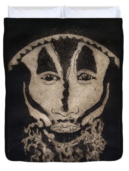 Greetings From New Guinea - Mask - Tribesmen - Tribesman - Tribal - Jefe - Chef De Tribu Duvet Cover