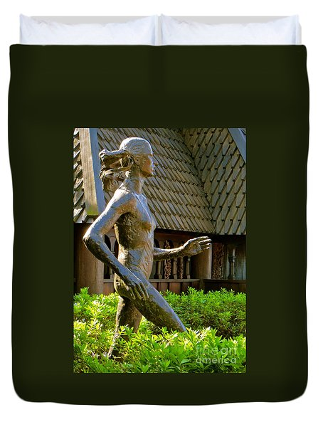 Duvet Cover featuring the photograph Grete Waitz Sculpture by Joy Hardee