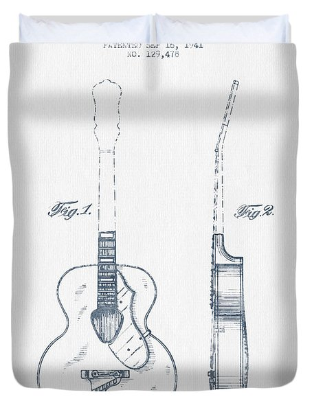 Gretsch Guitar Patent Drawing From 1941 - Blue Ink Duvet Cover by Aged Pixel