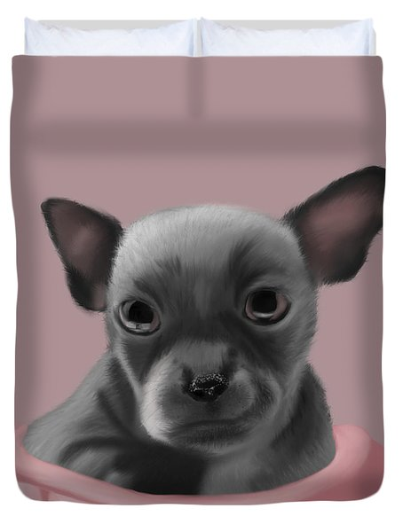 Grey Chihuahua In The Pink Duvet Cover