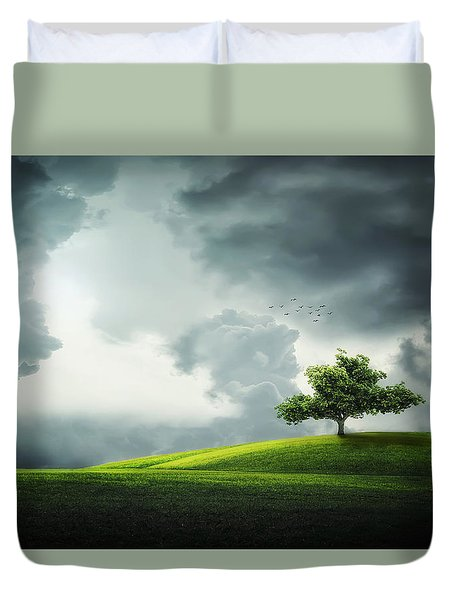 Grey Clouds Over Field With Tree Duvet Cover