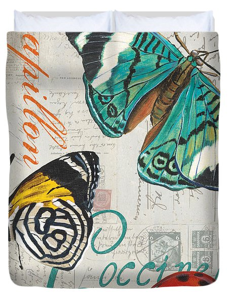 Grey Postcard Butterflies 2 Duvet Cover