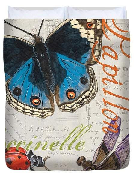 Grey Postcard Butterflies 4 Duvet Cover by Debbie DeWitt