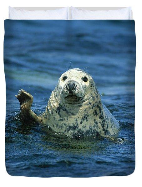 Grey Seal Waving Duvet Cover by Martin Woike