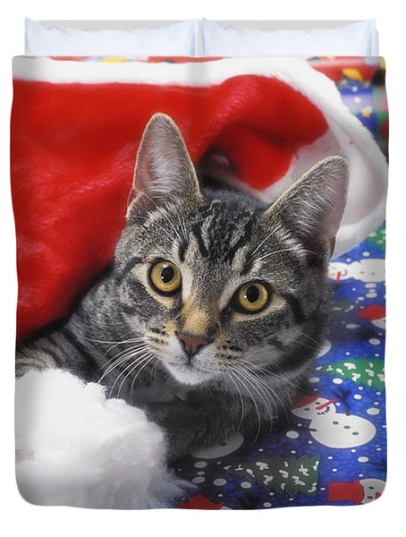 Grey Tabby Cat With Santa Claus Hat Duvet Cover