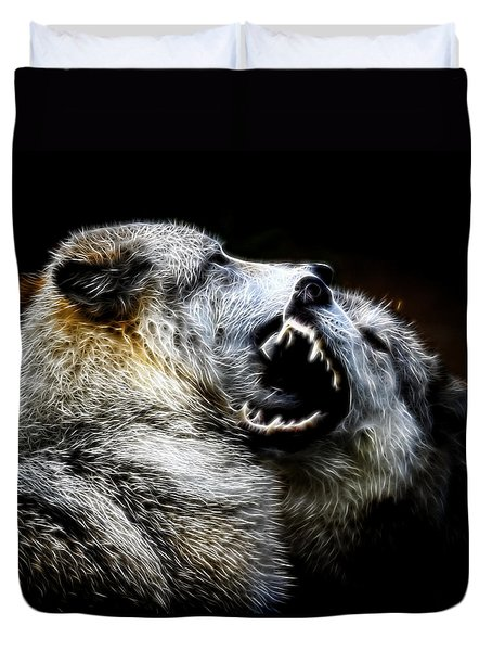 Grey Wolf Fight Duvet Cover by Steve McKinzie