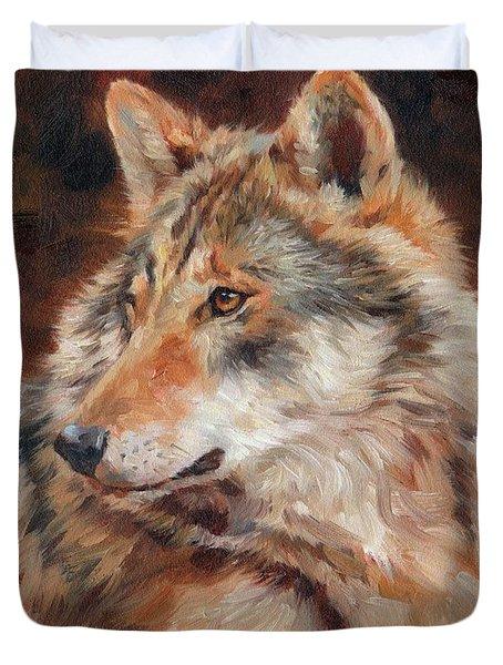 Grey Wolf Portrait Duvet Cover
