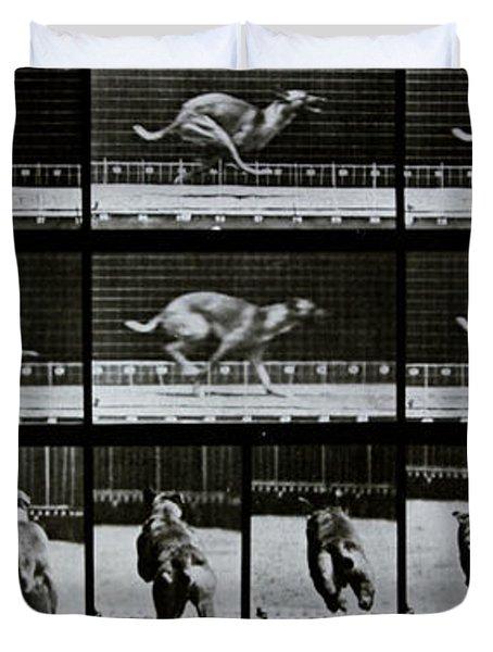 Greyhound Running Duvet Cover by Eadweard Muybridge