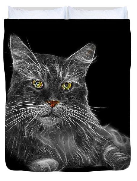 Greyscale Maine Coon Cat - 3926 - Bb Duvet Cover by James Ahn