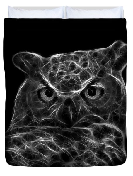 Greyscale Owl 4436 - F M Duvet Cover by James Ahn