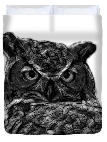 Greyscale Owl 4436 - F S M Duvet Cover