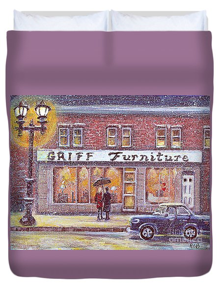 Duvet Cover featuring the painting Griff Valentines' Birthday by Rita Brown