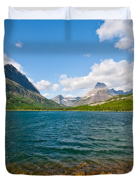 Grinnell Point From Swiftcurrent Lake Duvet Cover
