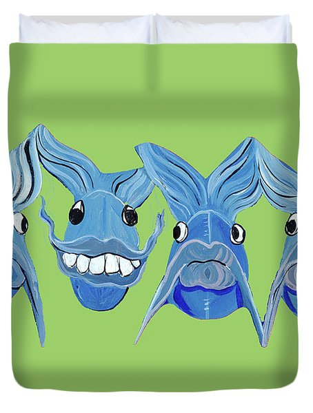 Grinning Fish Duvet Cover by Lizi Beard-Ward