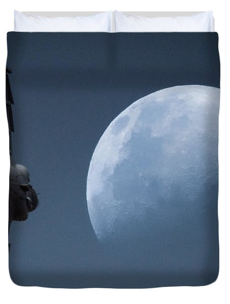 Duvet Cover featuring the photograph Gripen Moon by Paul Job