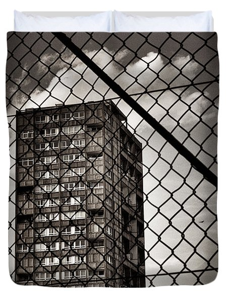 Gritty London Tower Block And Fence - East End London Duvet Cover