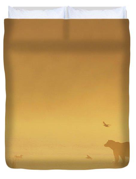 Grizzly Bear In Morning Fog Duvet Cover by Matthias Breiter