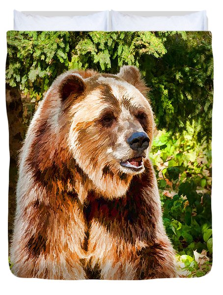 Grizzly Bear - Painterly Duvet Cover by Les Palenik