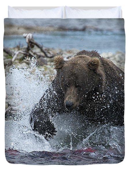 Brown Bear Pouncing On Salmon Duvet Cover by Dan Friend