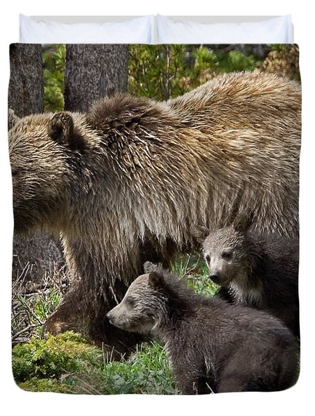 Grizzly Bear With Cubs Duvet Cover