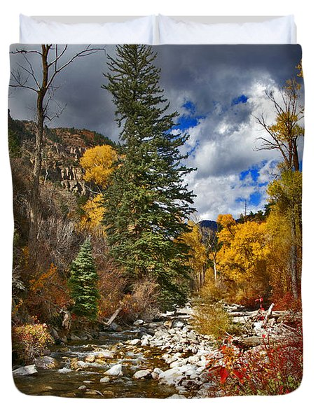 Duvet Cover featuring the photograph Grizzly Creek Vertical by Jeremy Rhoades