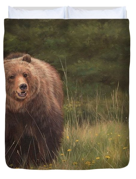 Grizzly Duvet Cover by David Stribbling