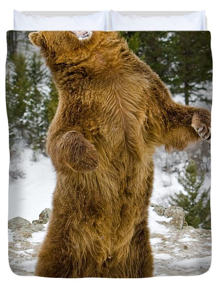 Duvet Cover featuring the photograph Grizzly Standing by Jerry Fornarotto