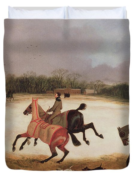 Grooms Exercising Racehorses  Duvet Cover by David of York Dalby