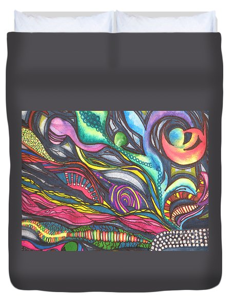 Duvet Cover featuring the painting Groovy Series Titled Thoughts by Chrisann Ellis