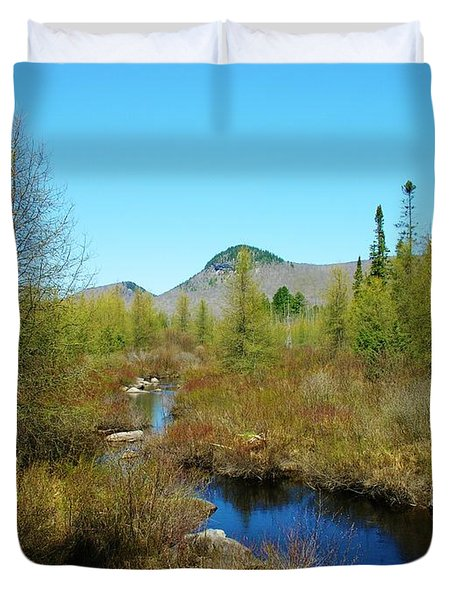 Duvet Cover featuring the photograph Groton State Forest Moose Country by Sherman Perry
