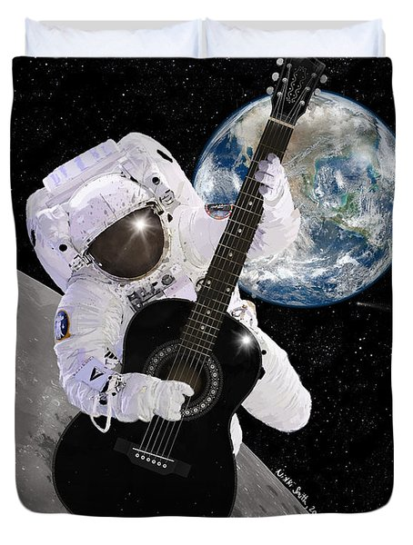 Duvet Cover featuring the digital art Ground Control To Major Tom by Nikki Marie Smith